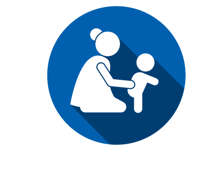 White Icon of Mom with Child holding them